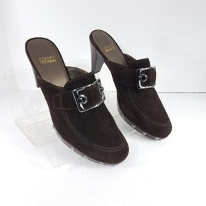 STUART WEITZMAN Brown Suede Buckle Mules Size 8M